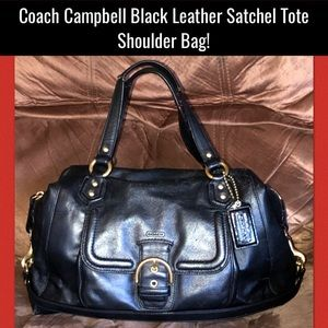 Coach Campbell Black Leather Satchel Tote Bag!